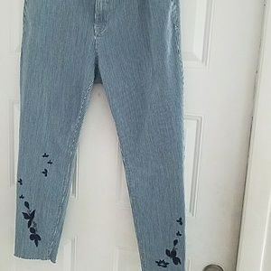 Blue Stripped stretch mid rise jeans pants